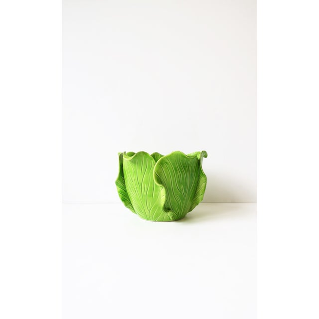 Kelly Green French Green Lettuce or Cabbage Leaf Cachepot by Jean Roger, Paris, France For Sale - Image 8 of 13