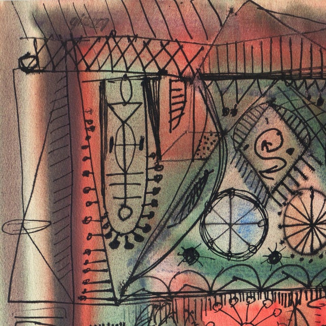 A substantial, mid-century watercolor abstract comprising interrelated geometric and biomorphic elements in a palette of...