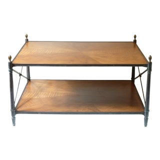 Vintage Mid-Century Bronze & Wood Coffee Table For Sale