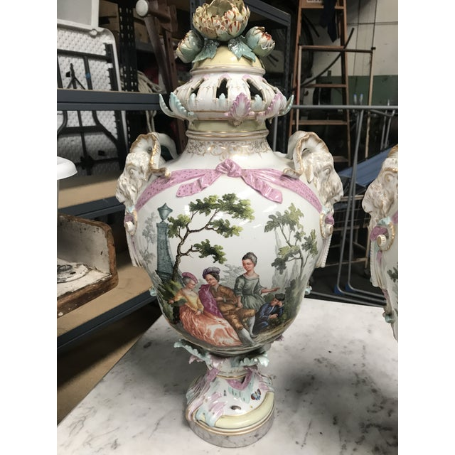 French 19th Century Large Porcelain Urns/Bases - a Pair For Sale - Image 3 of 12
