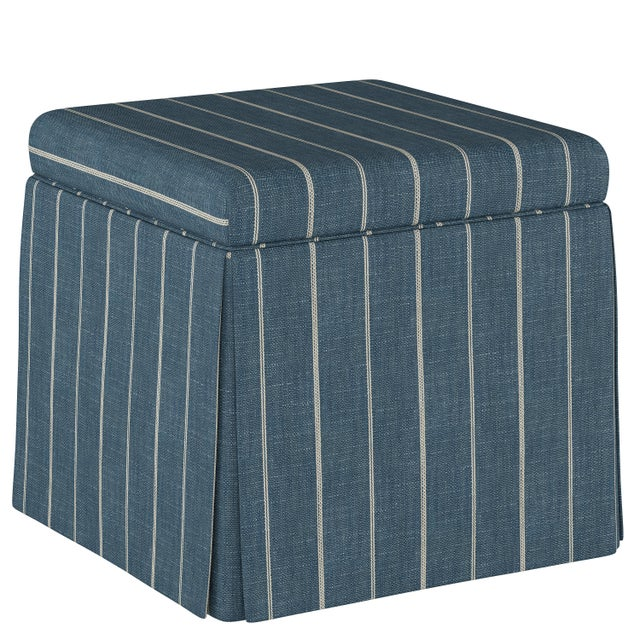 Not Yet Made - Made To Order Fritz Indigo Skirted Storage Ottoman For Sale - Image 5 of 7