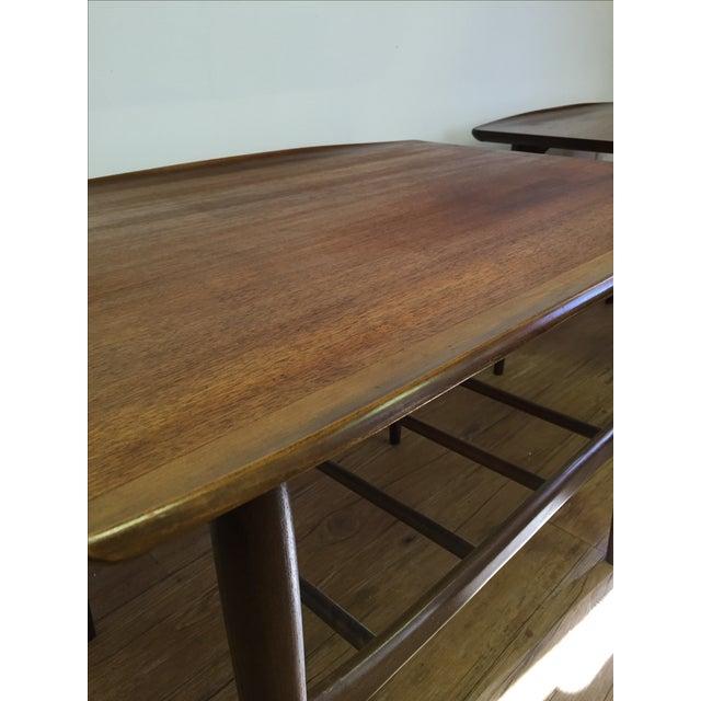 Bassett Mid-Century Two Tier Walnut Surfboard Side Tables - Pair - Image 5 of 11