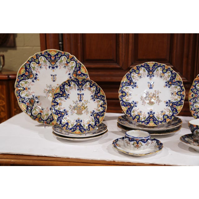 French 19th Century French Hand-Painted Plates and Dishes From Normandy - Set of 10 For Sale - Image 3 of 10
