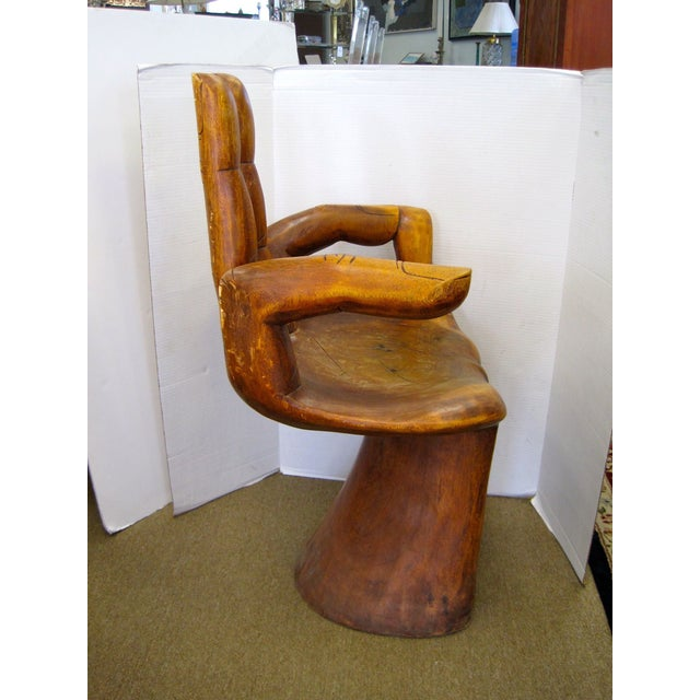 Brown 1960s Carved Hand Chair For Sale - Image 8 of 8
