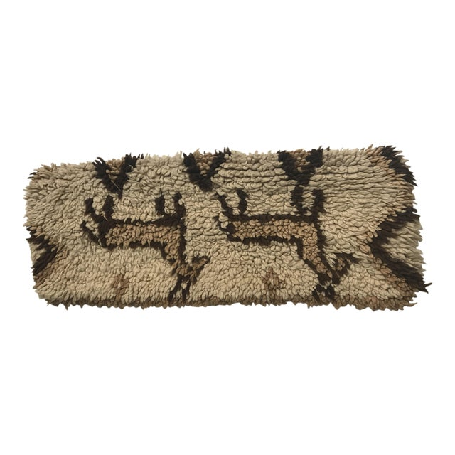 Vintage Moroccan Wool Stuffed Pillow - Image 1 of 9