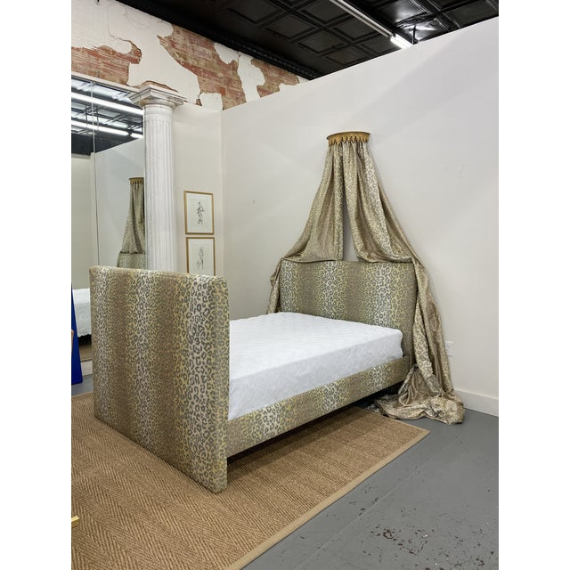 Contemporary Cheetah Upholstered Queen Bed with Italian Gold Leaf Corona For Sale - Image 9 of 9