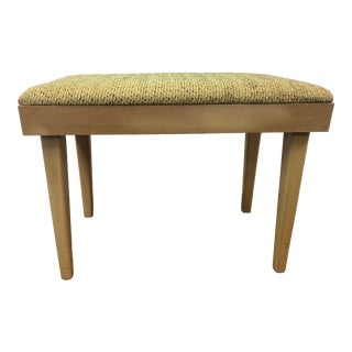Vintage Mid Century Modern Green Upholstered Vanity Stool For Sale