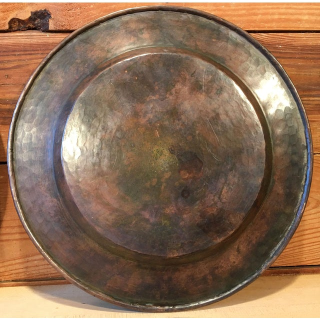 Copper Antique Arts & Crafts Roycroft Hand Hammered Copper Plates - Set of 4 For Sale - Image 8 of 13