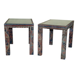 Vintage Kilim In-Set Glass Side Tables - a Pair For Sale