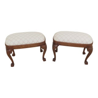 1990s Vintage Ball & Claw Walnut Ottomans- A Pair For Sale