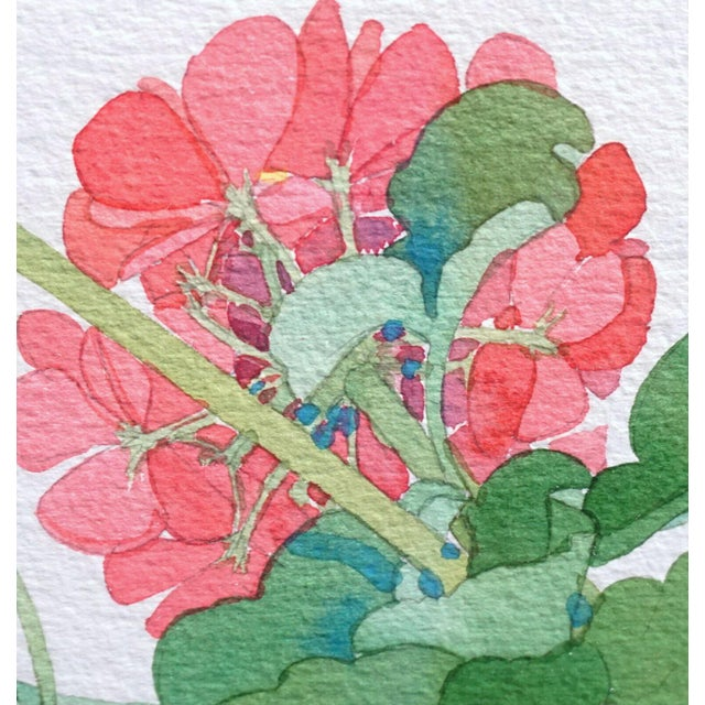 1990s Large Framed Watercolor of Pink and Red Potted Geraniums by Gary Bukovnik For Sale - Image 5 of 13