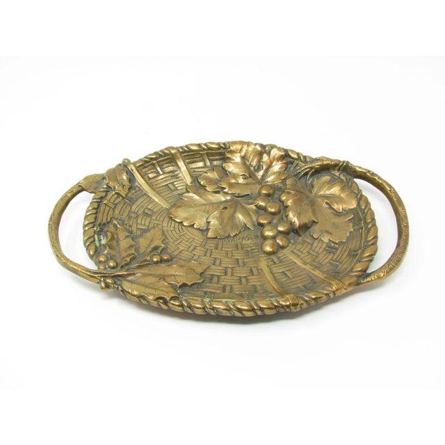 Metal Antique Jan Van Neste Art Nouveau Bronze Decorative Tray With Grape Leaves For Sale - Image 7 of 13