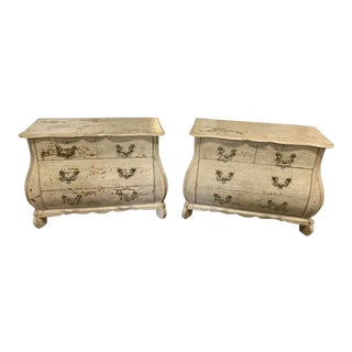 Baker Furniture Distressed Bombe Front Chests - a Pair For Sale
