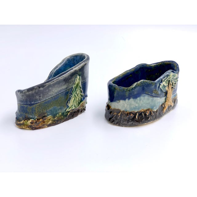 Handmade Ceramic Business Card Holders With Painted and Textured Landscapes - a Pair For Sale - Image 4 of 9