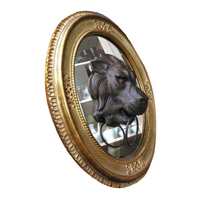 Empire Lion Head Door Knocker Framed by a Vintage Golden Oval Mirror For Sale - Image 3 of 6