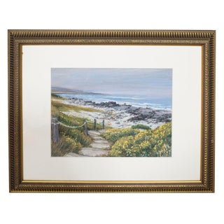 "Modern Seascape ""Pebble Beach"" Pastel on Paper by Elena Maza For Sale"
