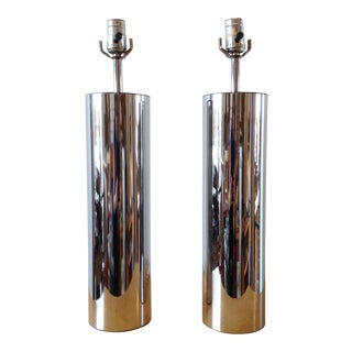 1970s Vintage Robert Sonneman Chrome Cylinder Table Lamps- a Pair For Sale