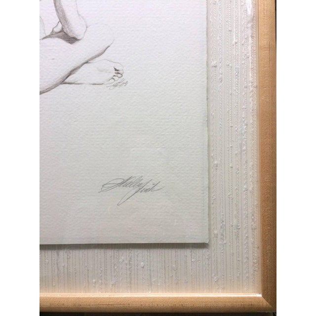 American Original Pencil Drawing Sitting Nude by Sheldon Shelly Fink American For Sale - Image 3 of 5