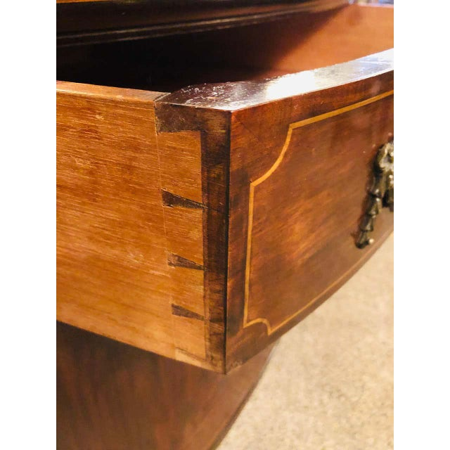 Brown Sheraton Flame Mahogany 19th Century Sideboard Buffet With Inlaid Backsplash Top For Sale - Image 8 of 13