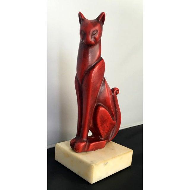 Mid-Century Art Deco Bronze Cat Sculpture - Image 3 of 8
