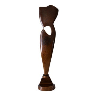 1997 Post Modern Bronze Abstract Sculpture Signed Matt For Sale