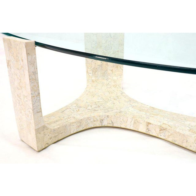Tessellated Stone Veneer Tile Organic Kidney Shape Coffee Center Table For Sale - Image 9 of 13
