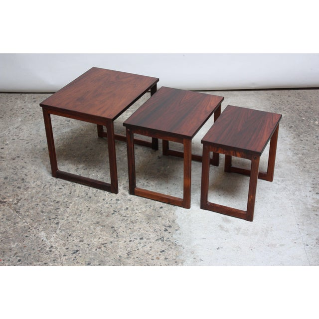 Trio of Danish Rosewood Nesting Tables For Sale - Image 4 of 9