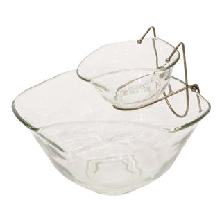 Mid-Century Clear Deep and Chip Glass Serving Bowl For Sale