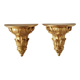 Vintage Italian Giltwood Neoclassical Style Wall Brackets-A Pair For Sale