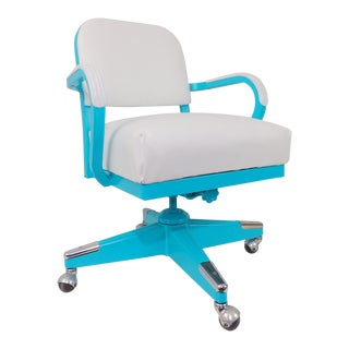 Mid-Century Modern Aqua Tanker Desk Chair