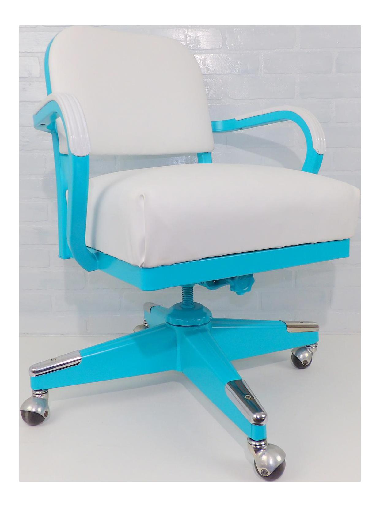 Mid Century Modern Aqua Tanker Desk Chair