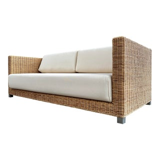 Paola Navone for Gervasoni Woven Sofa Newly Reupholstered For Sale
