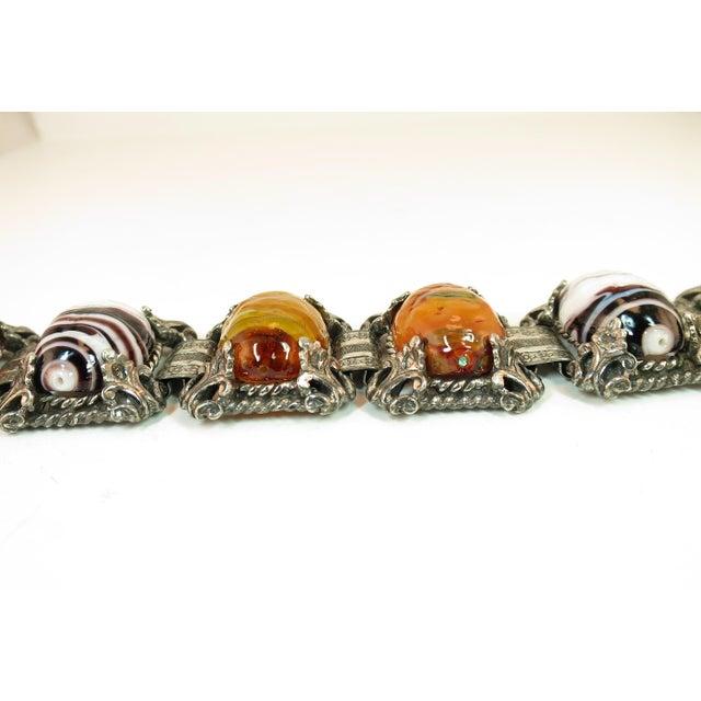 1950s Mid-Century Selro Agate Art Glass Florentine Link Bracelet, 1950s For Sale - Image 5 of 13