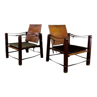 American Mid-Century Safari Chair, Reversible Seat Cover For Sale