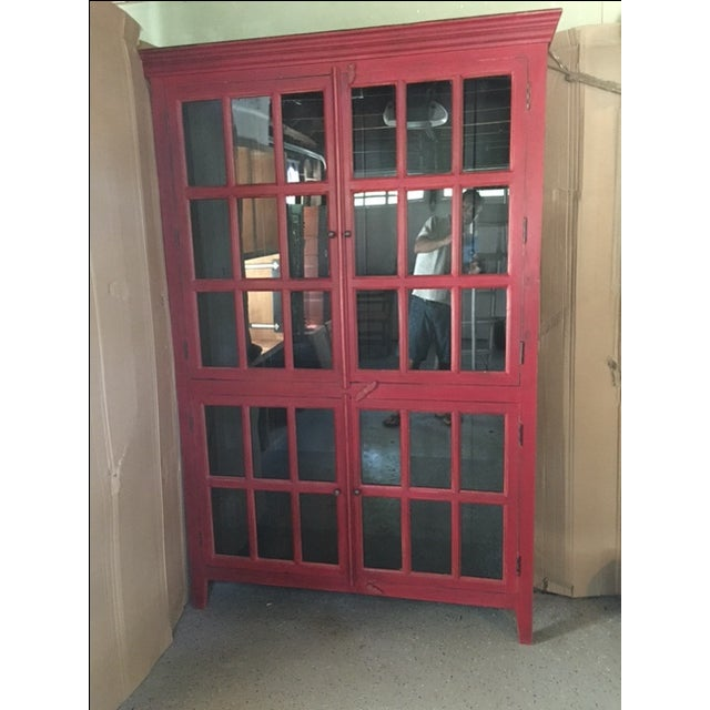 Wooden Red China Cabinet - Image 4 of 5