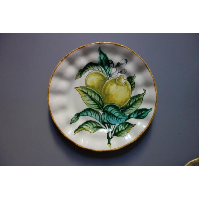 Vintage Italian Hand Painted Signed Fruit Plates - Set of 4 For Sale - Image 4 of 9