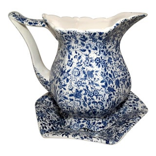 Vintage Enesco Blue and White Floral Pitcher & Matching Plate For Sale