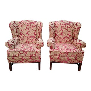 Vintage Paul Robert Chinese Chippendale Upholstered Wingback Chairs - a Pair For Sale