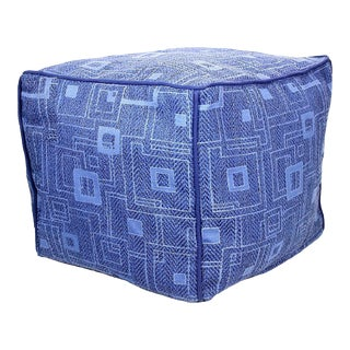 Handwoven Lattice Cube Pouf Ottoman With Piping For Sale