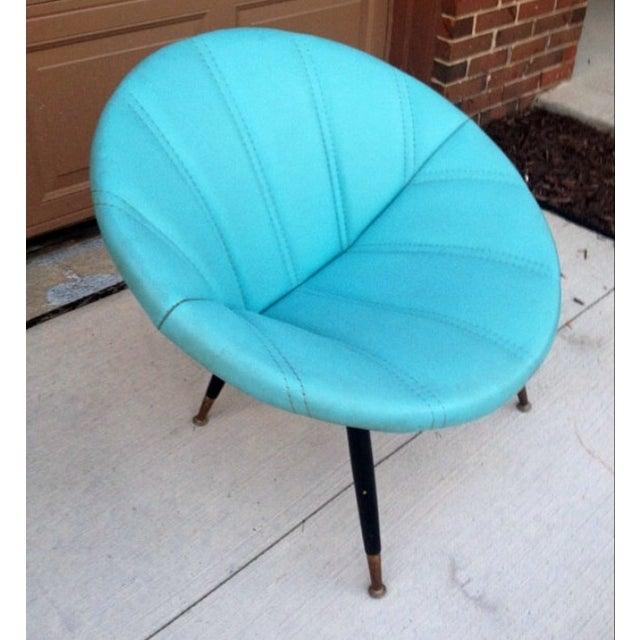 Mid Century Modern Turquoise Clam Saucer Chair Chairish