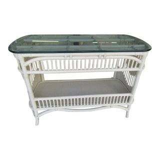 Rattan and Wicker Console Table For Sale