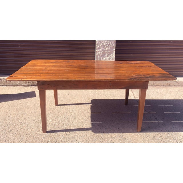 Rustic Barnwood Plank Top Dining Table For Sale - Image 13 of 13
