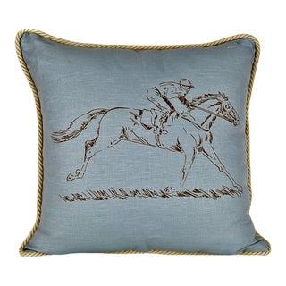 Racehorse Blue Mist Linen Equestrian Pillow For Sale