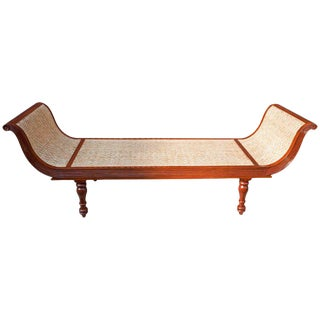 British Colonial Caned Teak Daybed For Sale