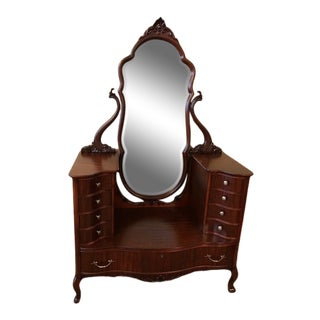 Antique Mahogany Jean Harlow Vanity For Sale