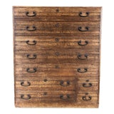 Image of Mid 19th Century Vintage Japanese Tansu Chest of Drawers For Sale