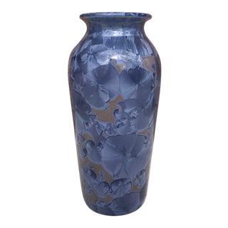 Late 20th Century Jon Price Ceramics Blue Crystalline Vase For Sale