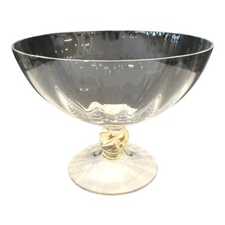 Italian Murano Glass Clear Fluted Pedestal Compote Bowl by Gino Cenedese For Sale