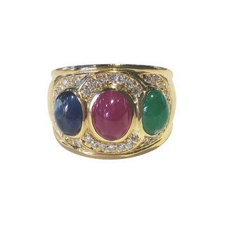 18k Gold Cabochon Ruby Sapphire Emerald Diamond Ring For Sale