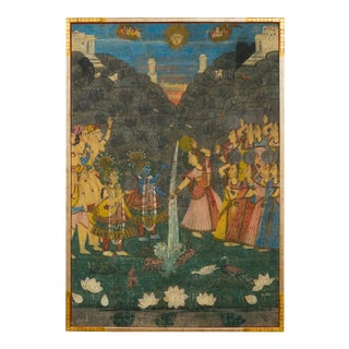 19th Century Indian Pichhwai Silk Painting of Krishna and Gopis For Sale